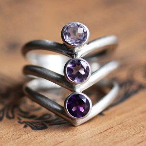 February Birthstone Ring - Three Stone