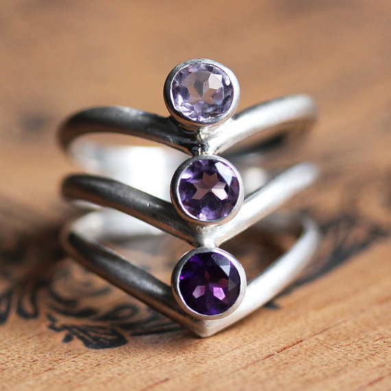 February Birthstone Ring - Three Stone