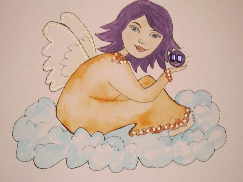 February Birthstone Angel with Amethyst