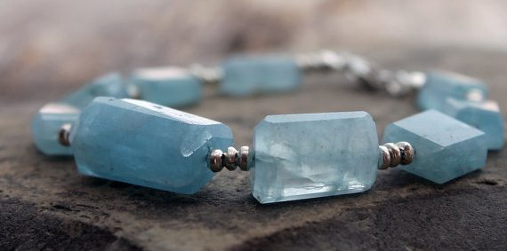 March Birthstone Bracelet - Aquamarine Beads