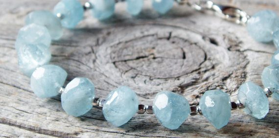 March Birthstone Bracelet - Aquamarine Nuggets