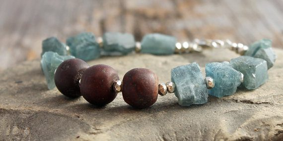 March Birthstone Bracelet - Raw Moss Aquamarine