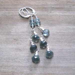 March Birthstone Earrings - Aquamarine Cascade