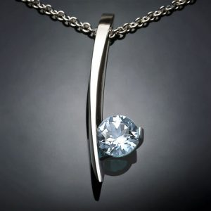 March Birthstone Necklace - Aquamarine and Silver