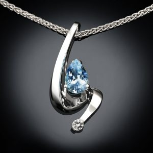 March Birthstone Necklace - Aquamarine and White Sapphire