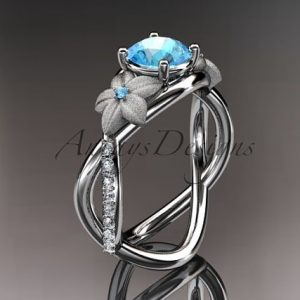 March Birthstone Ring - Aquamarine and Diamond
