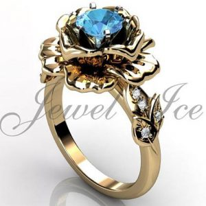 March Birthstone Ring - Aquamarine and Diamond in Gold