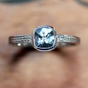 March Birthstone Ring - Aquamarine in White Gold