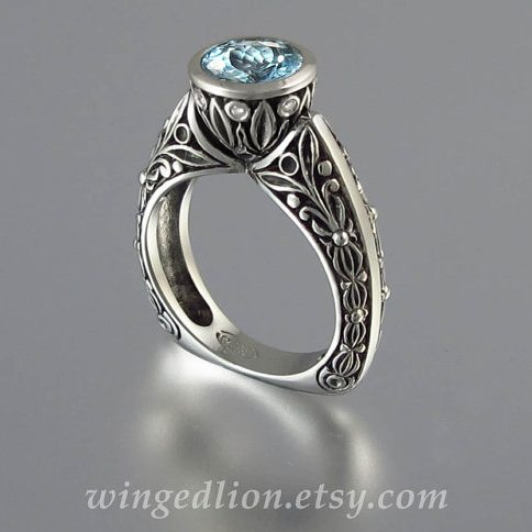 March Birthstone Ring - Carved Aquamarine