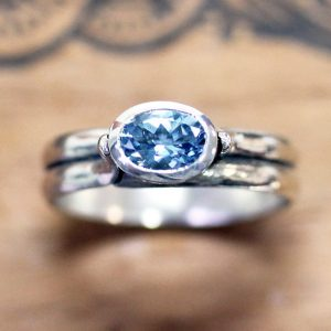 March Birthstone Ring - Deep Blue Aquamarine