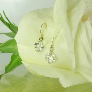 April Birthstone Earrings - Raw Crystal