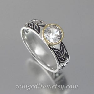 April Birthstone Ring - Carved White Sapphire