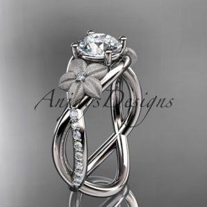 April Birthstone Ring - Diamond and White Topaz