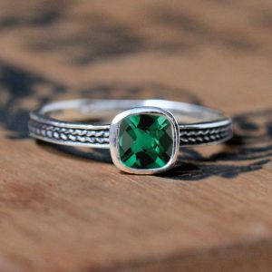May Birthstone Ring - Imitation Emerald