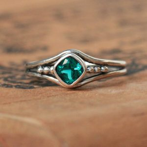 May Birthstone Ring - Created Emerald