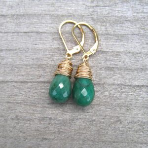 May Birthstone Earrings - Brazilian Emerald