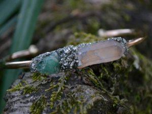 May Birthstone Braclet - Emerald and Quartz