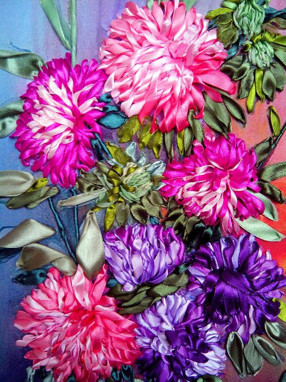 September Birth Flower - Aster Ribbon Embroidery
