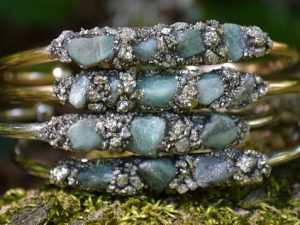 May Birthstone Bracelet - Rough Emerald