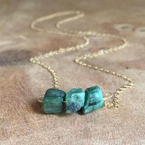 May Birthstone Necklace - Natural Emerald