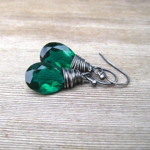 May Birthstone Earrings - Green Quartz