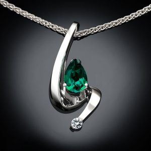 May Birthstone Necklace - Created Emerald