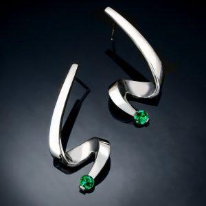 May Birthstone Earrings - Created Emerald
