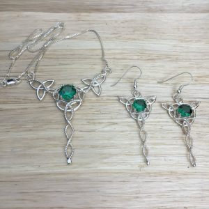 May Birthstone Jewelry Set - Lab Emerald