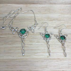 May Birthstone Jewelry Set - Lab Emerald