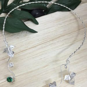 May Birthstone Neck Torc - Lab Emerald