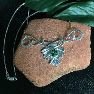 May Birthstone Necklace - Lab Emerald