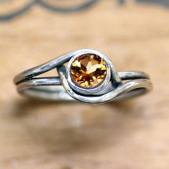 November Birthstone Ring - Silver Citrine