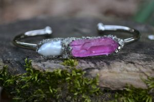 June Birthstone Bracelet - Pearl and Pink Quartz