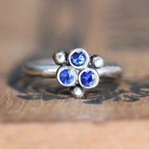 September Birthstone Ring - Three Stone Silver
