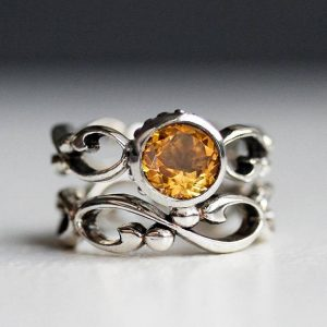 November Birthstone Ring Set - Citrine Infinity