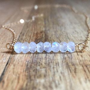 June Birthstone Necklace - Moonstone Bar Necklace