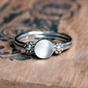 June Birthstone Ring - Moonstone Flower Ring