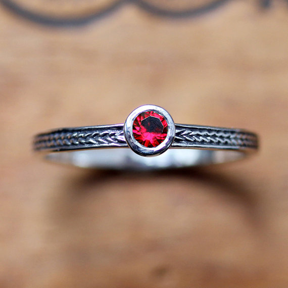 July Birthstone Stacking Ring - Red Ruby