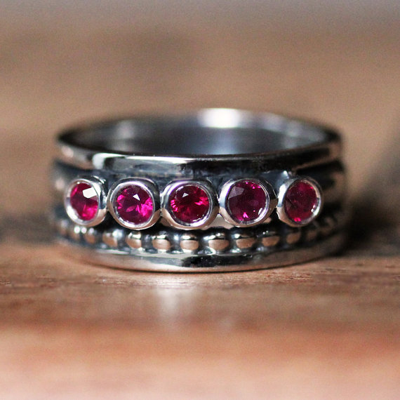 Five Stone Wide Band June Birthstone Ring
