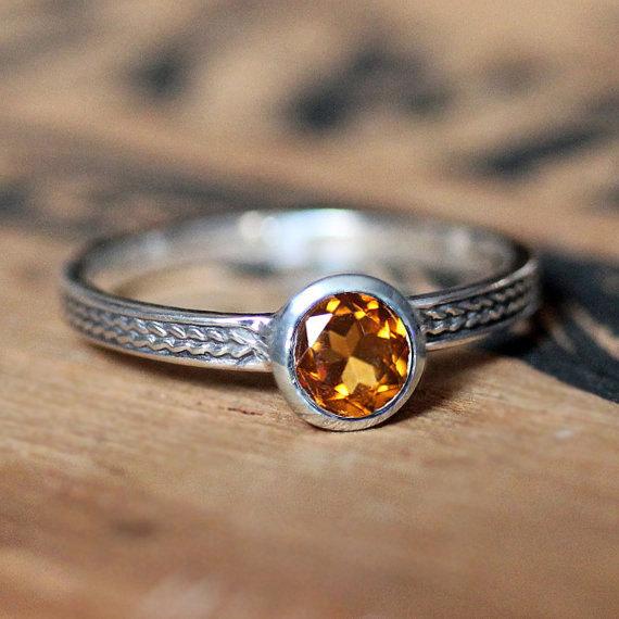 November Birthstone Ring - Braided Stacking RIng