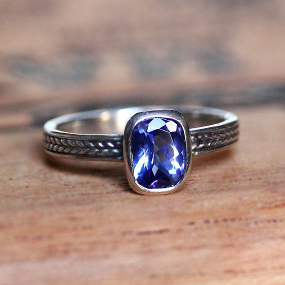 December Birthstone Ring - Braided Blue Tanzanite