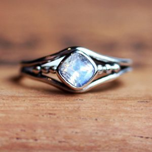 June Birthstone Ring - Rainbow Moonstone