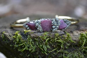 Rough Ruby and Pyrite July Birthstone Bracelet
