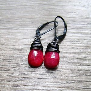 Natural Ruby July Birthstone Earrings