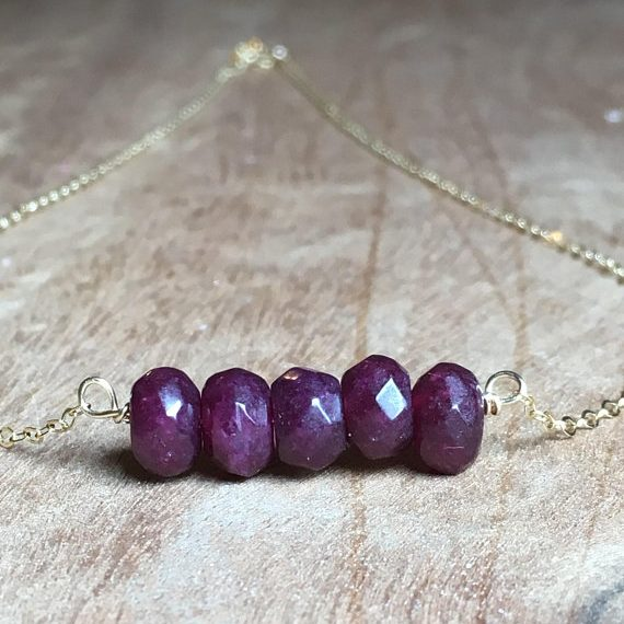 July Birthstone Necklace - Raw Ruby Bar Necklace