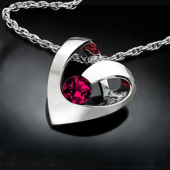 Ruby Heart July Birthstone Necklace