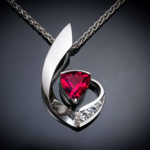 Ruby and White Sapphire July Birthstone Necklace