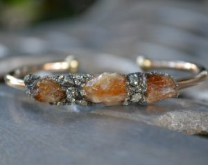 Rough Citrine Gemstone November Birthstone Bracelet