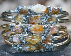 Raw Citrine Stacking November Birthstone Bracelet