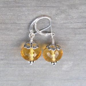 Silver Citrine Dangle November Birthstone Earrings